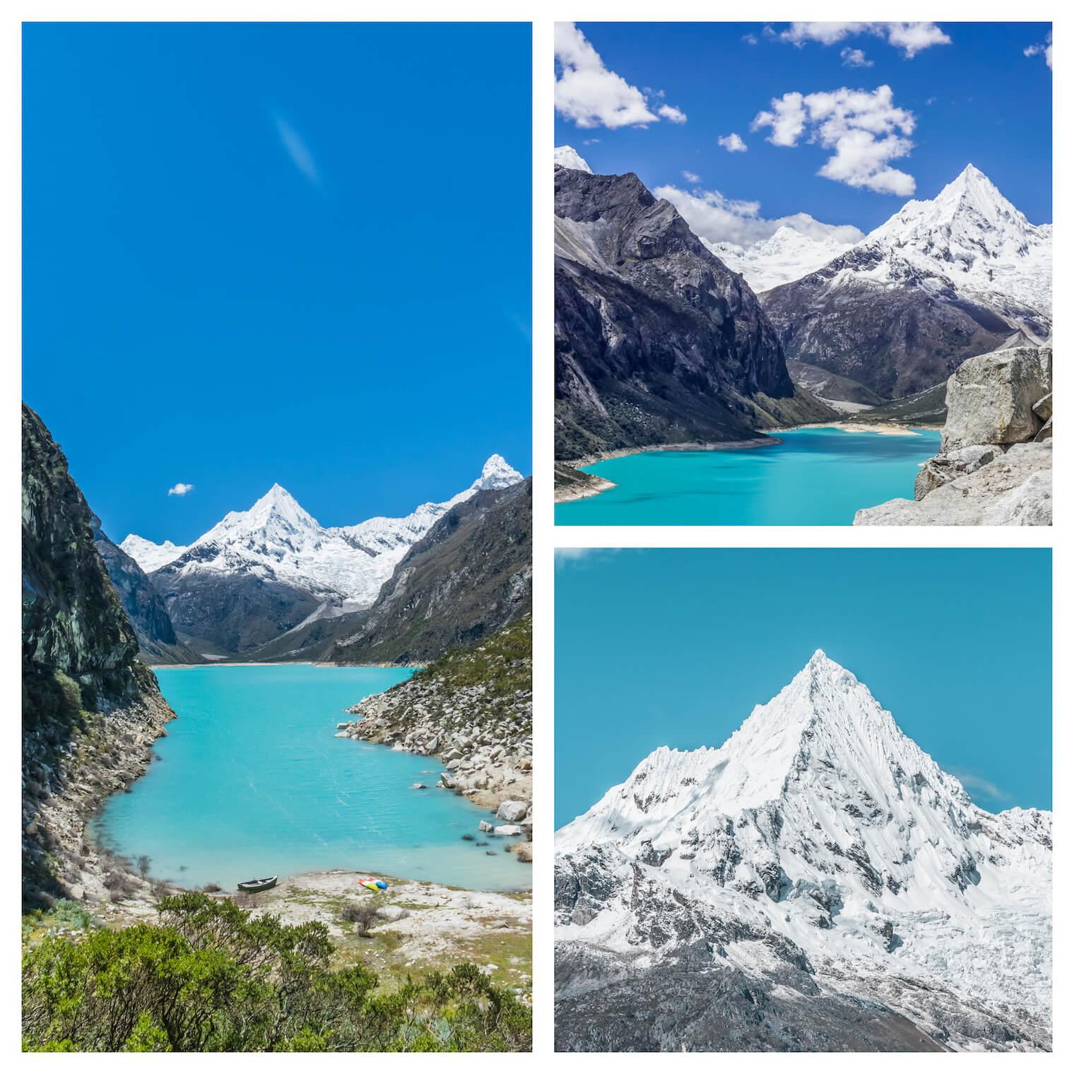 3 fotos: Em destaque na esquerda: foto de um lago bastante azul com uma montanha nevada ao fundo. Superior direita: outra visão do lago e montanha um pouco mais de cima. Inferior direita: um destaque no pico nevado.