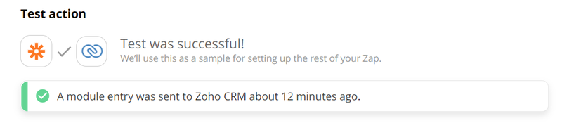 Send a test review from Zapier to Zoho CRM
