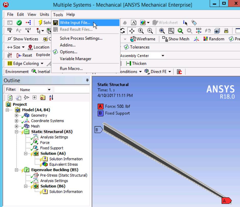 Mechanical GUI Input File