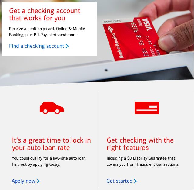 Screenshot of Bank of America's website