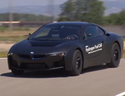 The BMW Hydrogen i8 on a race track