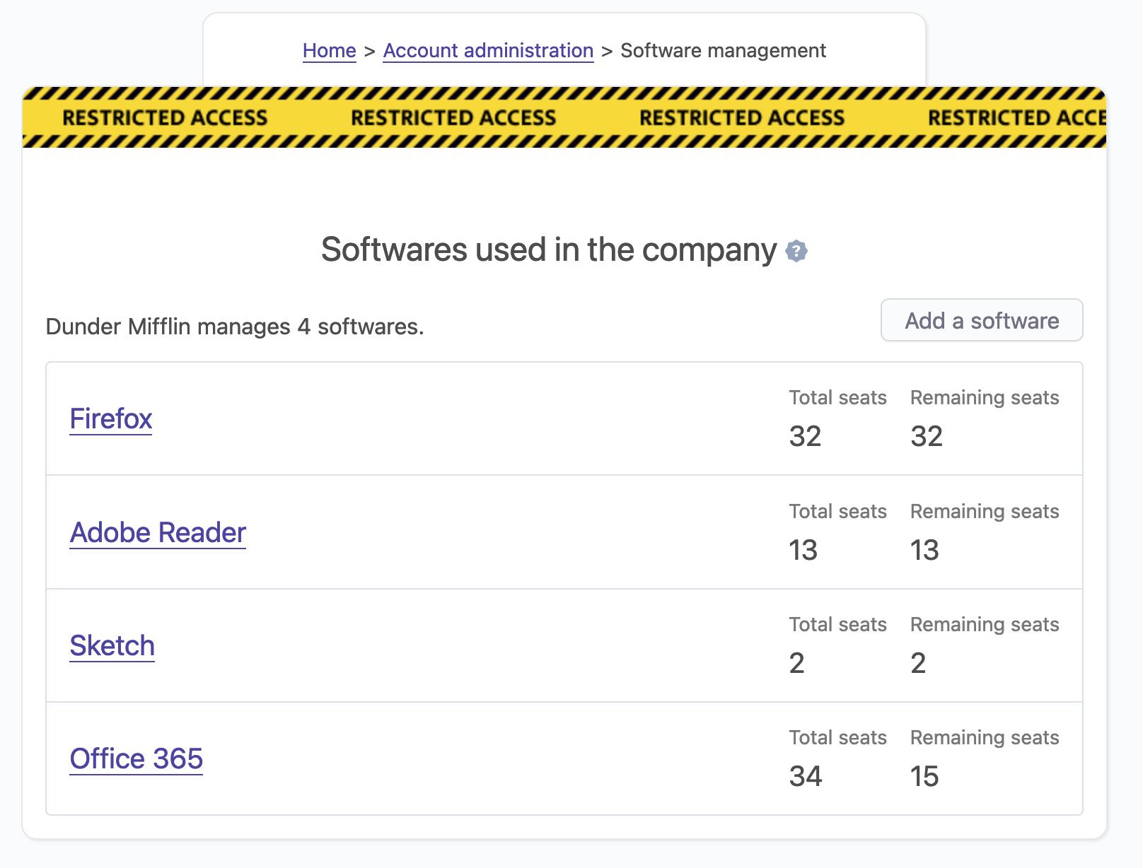 list all softwares