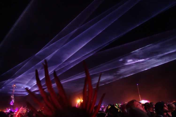 Burning Man Mayan Warrior Lasers