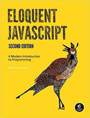 Eloquent JavaScript's book cover.