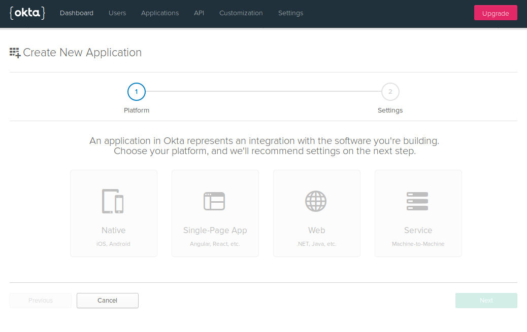 Okta application page