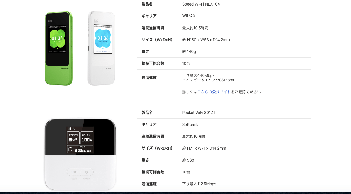 spacewifiの選択可能端末