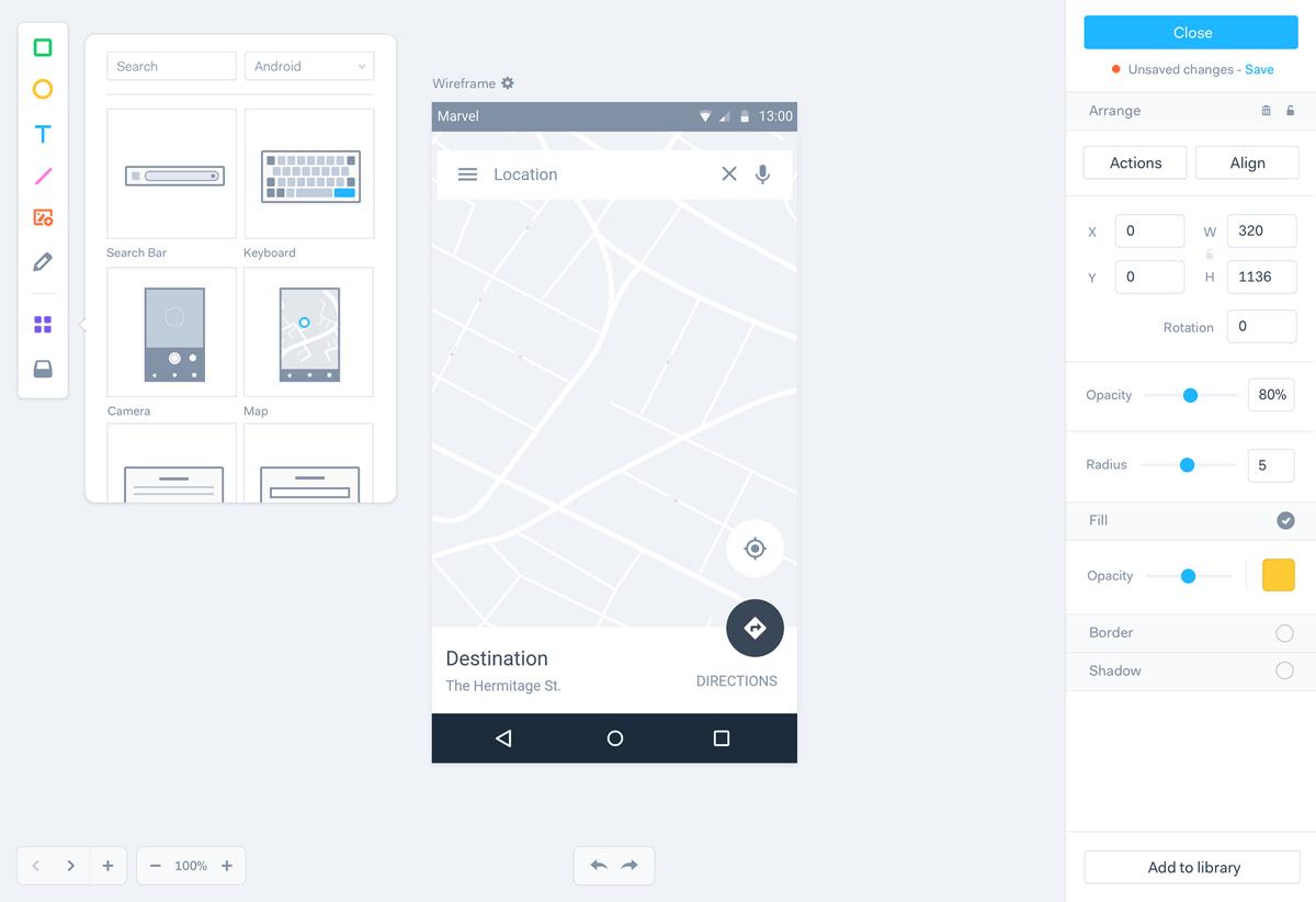 Marvel wireframe and UI components