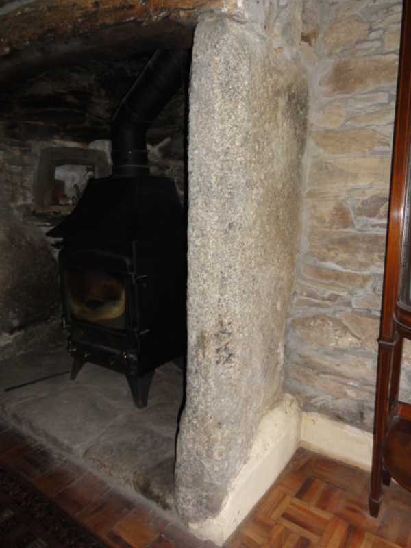 Fireplace carved granite