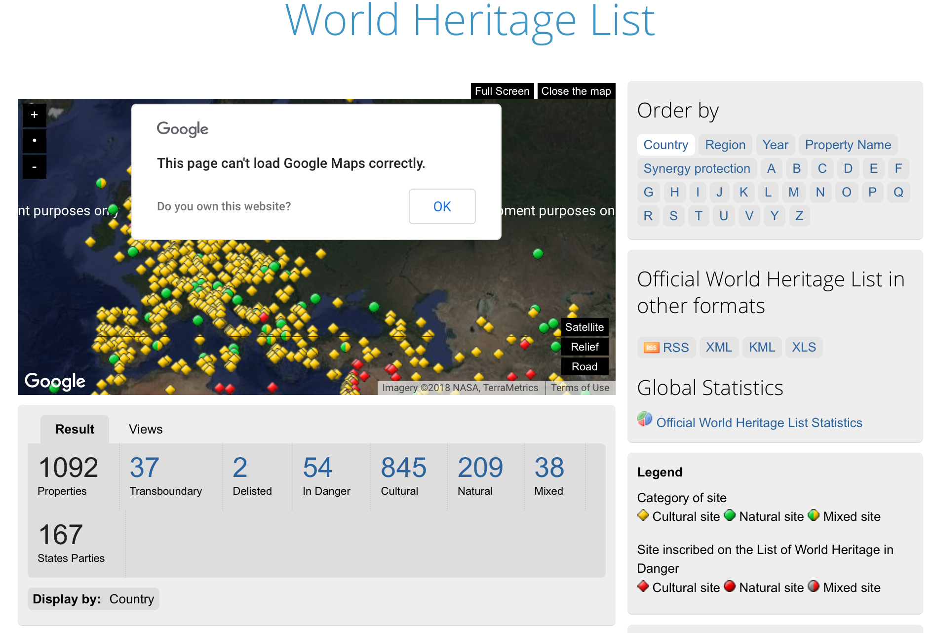UNESCO World Heritage List Google Map, broken