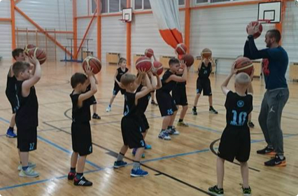 Basketball practice for children in Tallinn