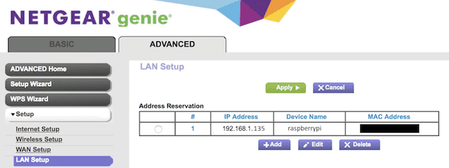 Reserve Pi IP Address on Router