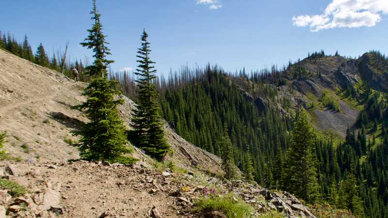 The PCT goes over a rugged ridge