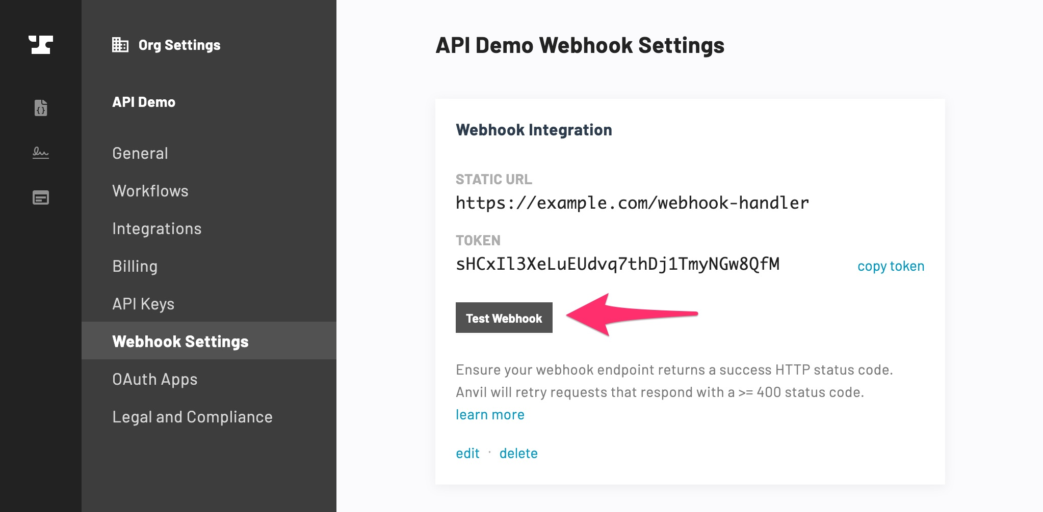 Webhook Settings Test
