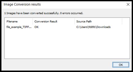 Conversion results