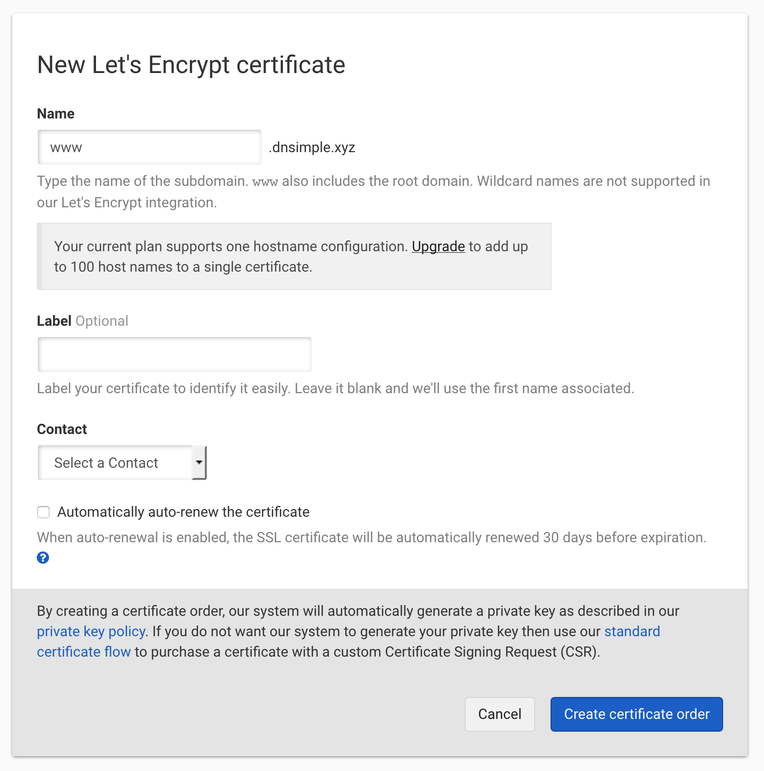 Let's Encrypt with single name configuration