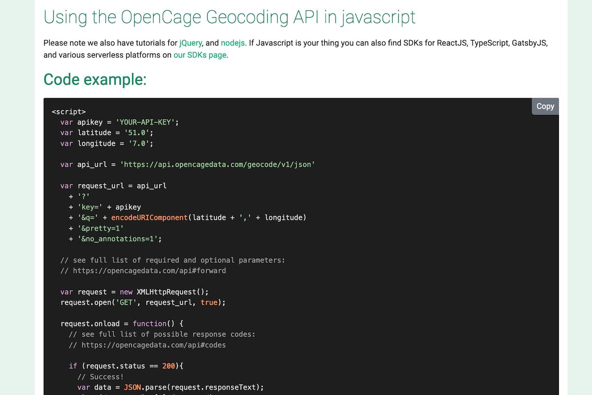 App screenshot for OpenCage Geocoding API 2