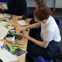 Young people making a zine for the Suffolk Libraries arts programme