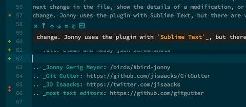 screenshot of the Git Gutter plugin in use