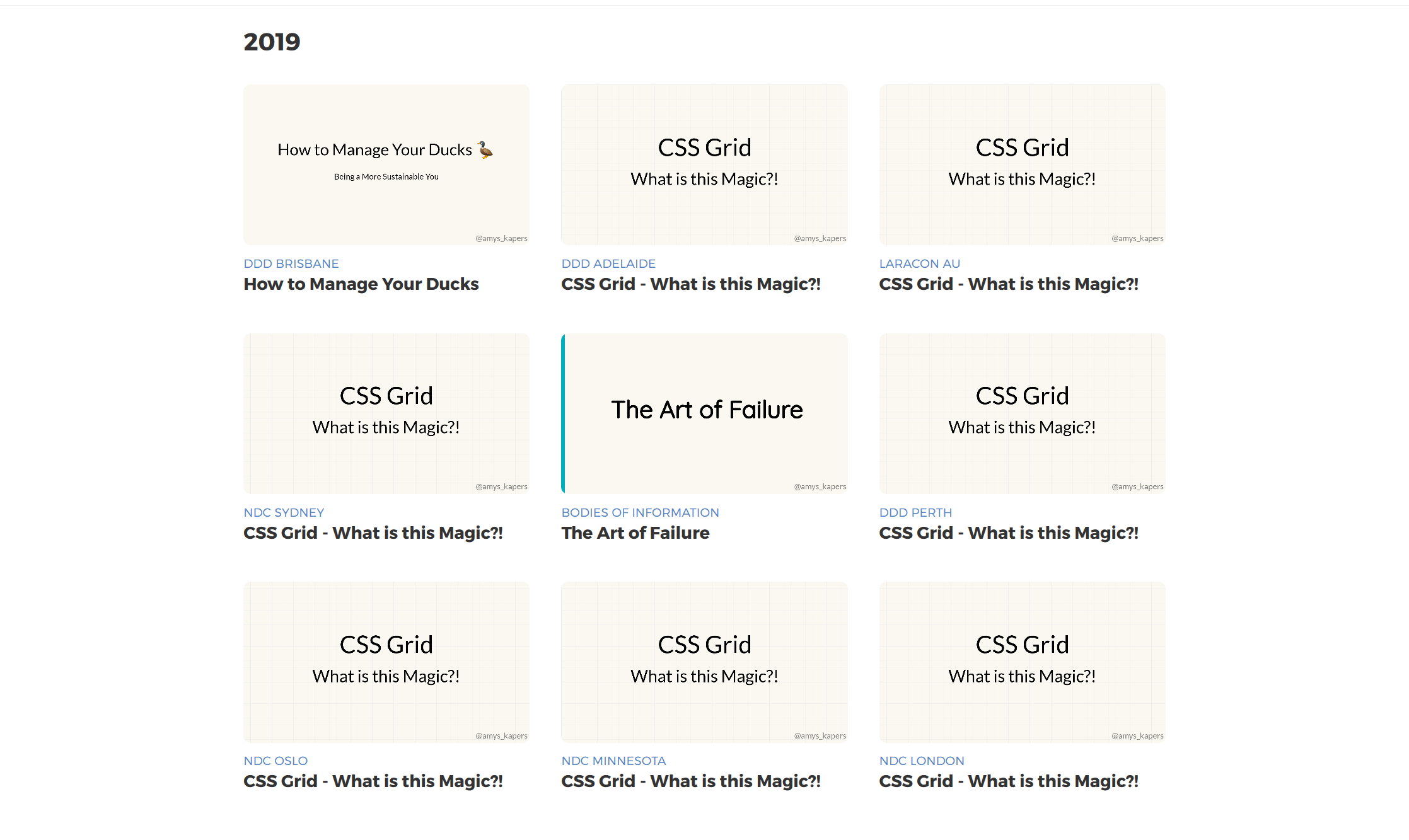 Screenshot of the presentations I've given this year
