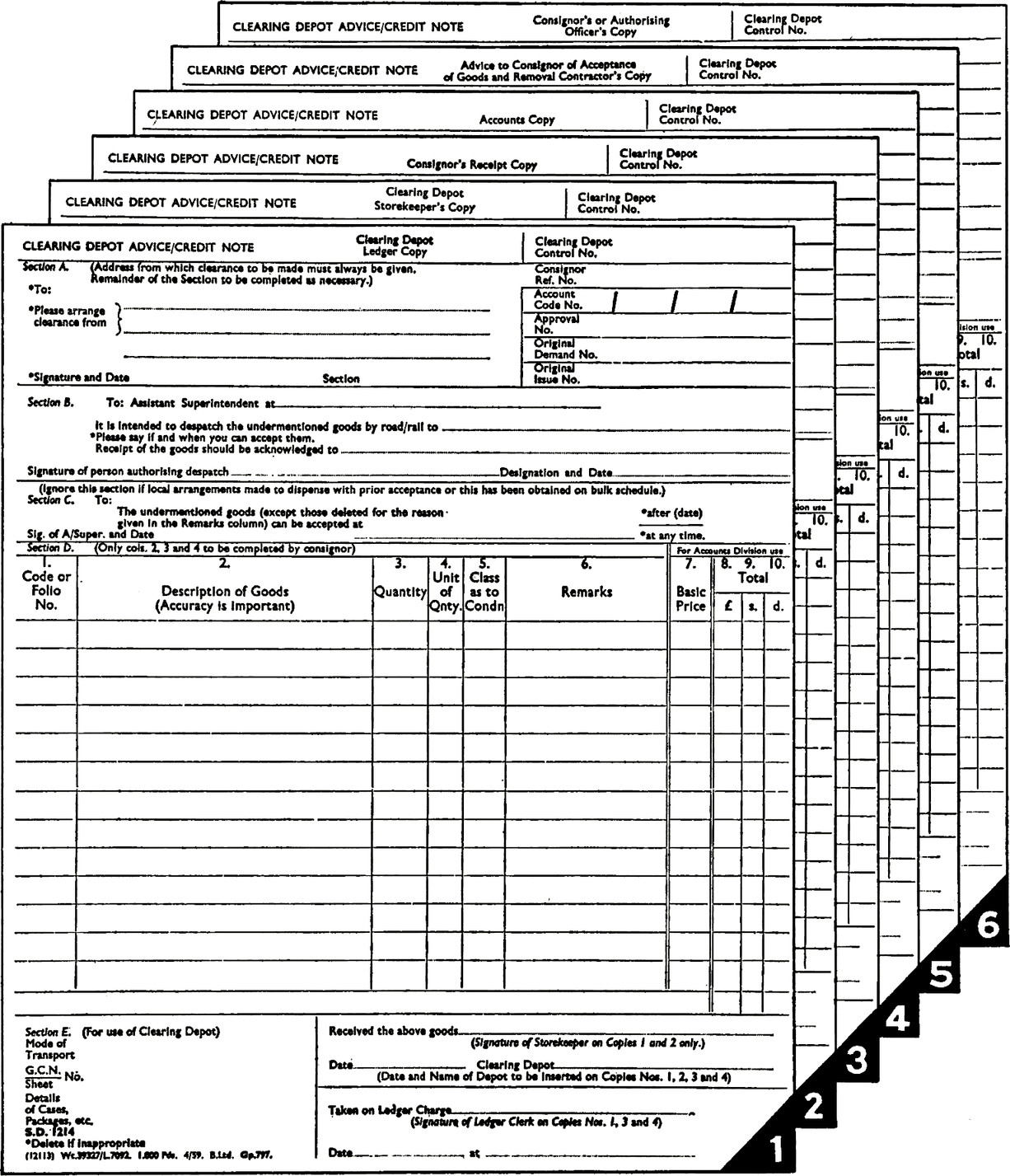 This six-part set of forms is made up in pads for preparation with ordinary carbon paper.