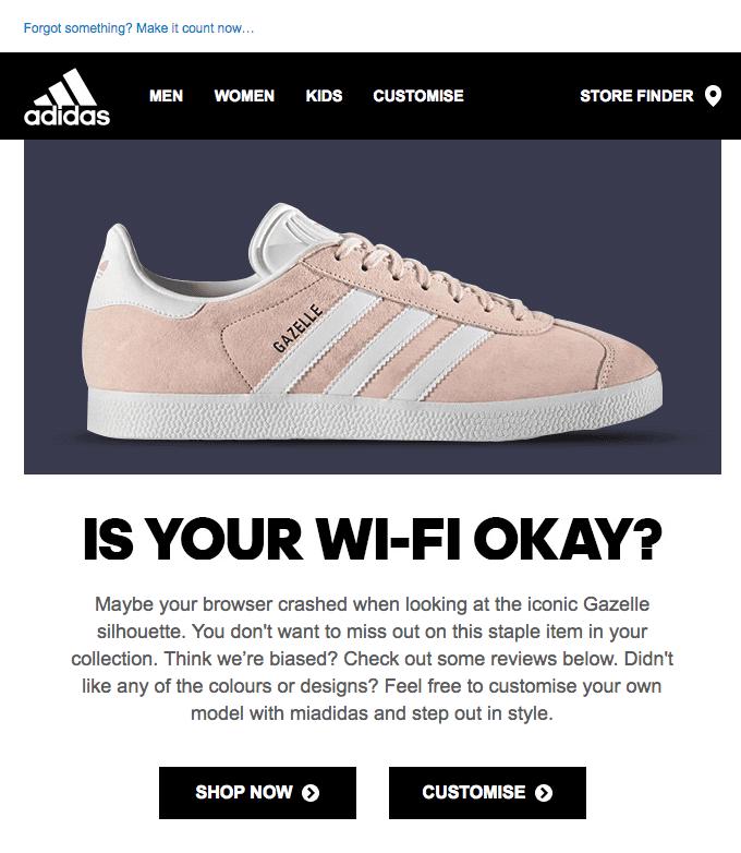 Adidas reminder email