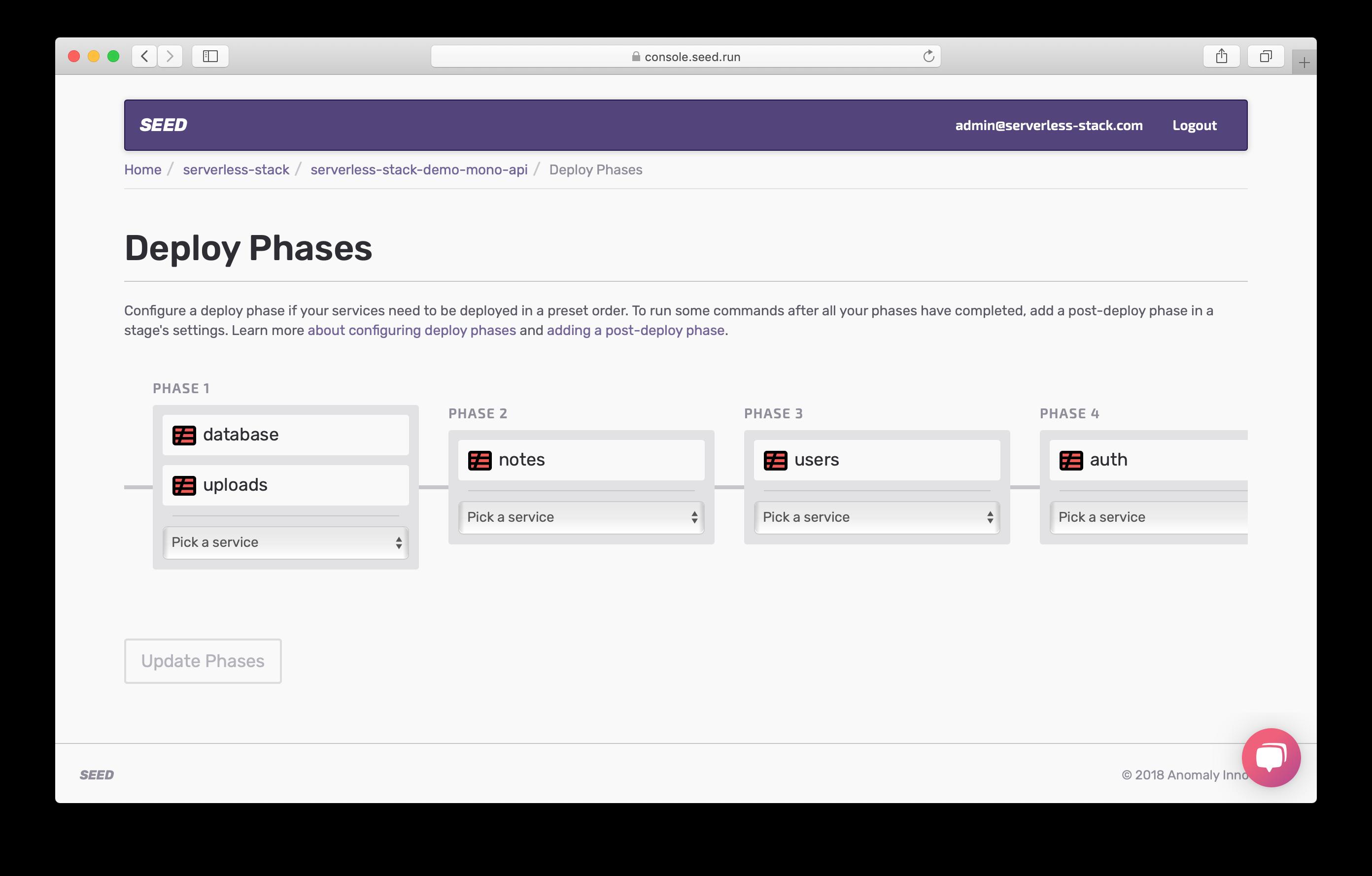 Edit Deploy Phase screenshot