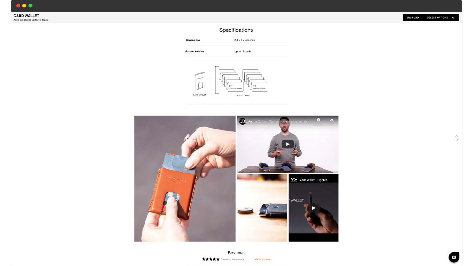 Anson Calder product page
