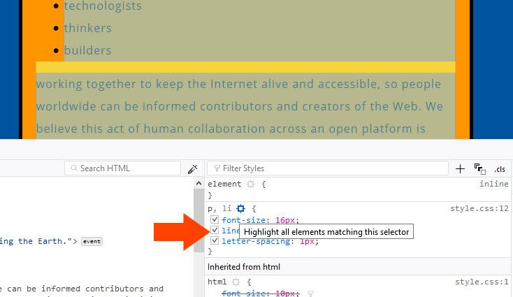 Resaltar todos los elementos que coincidan con un selector de CSS