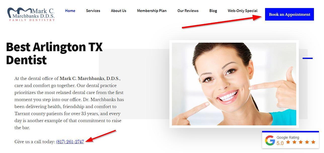 Screenshot of dental website