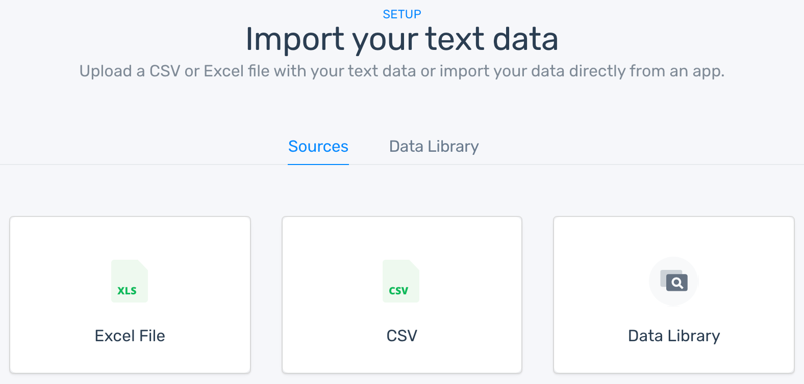 The option to choose a CSV or Excel file or download one from the data library.