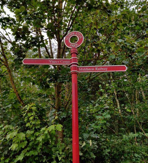 Middleton Park sign to Middleton woods and middleton railway