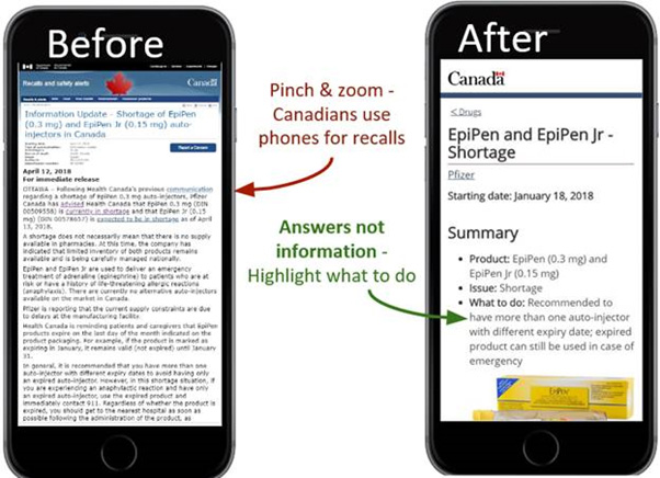 Image of two phones showing EpiPen information update page, labelled 'Before' and 'After'.