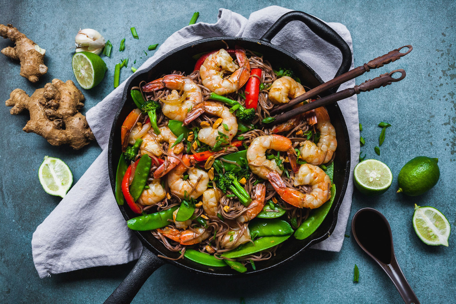 Ginger Lime Shrimp With Noodles