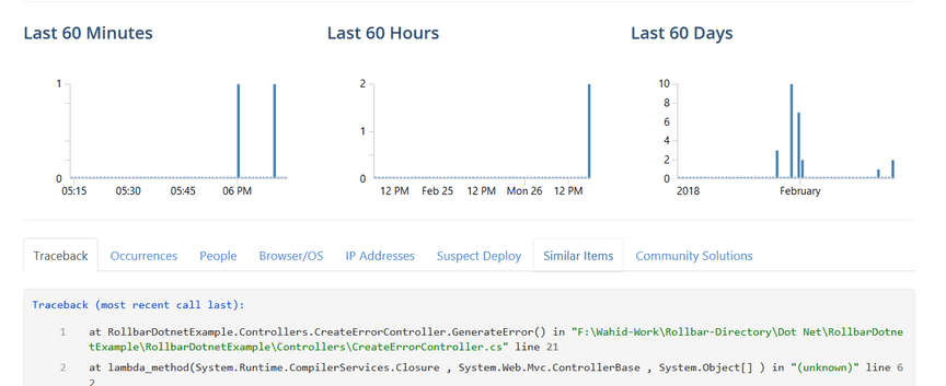 Screenshot of Rollbar .NET Error Detail
