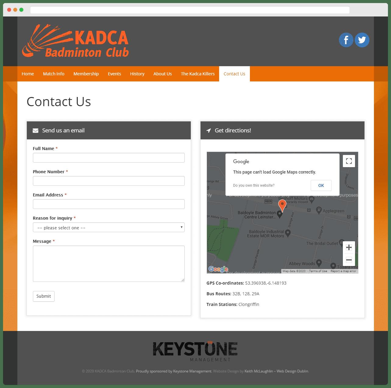 Kadca Badminton Club Contact Page