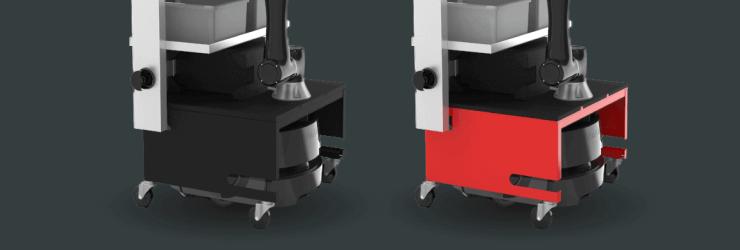 Photo du bras robotisé à 6axes en noir et en rouge.