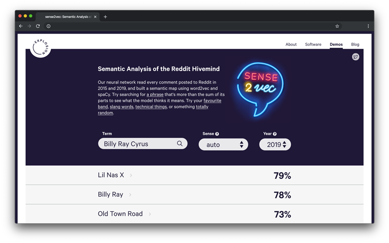 Screenshot of the sense2vec demo