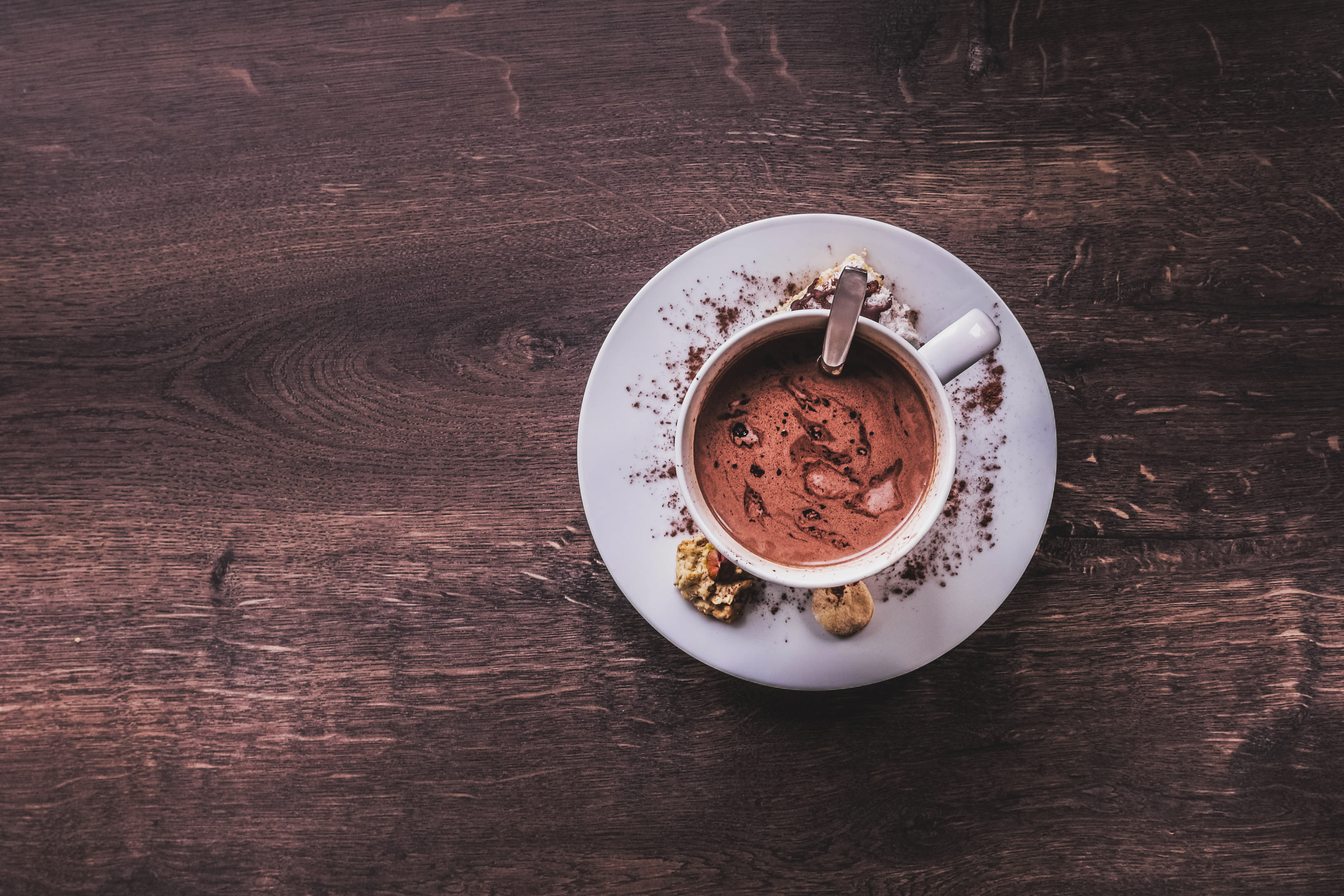 cup of hot chocolate on a wooden table