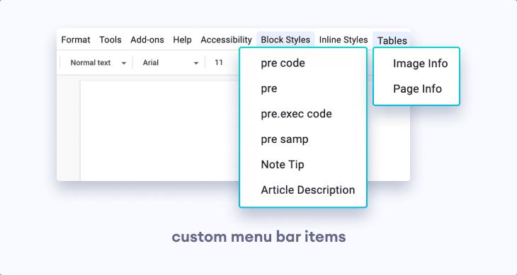 Customized Google Docs Menu Bar