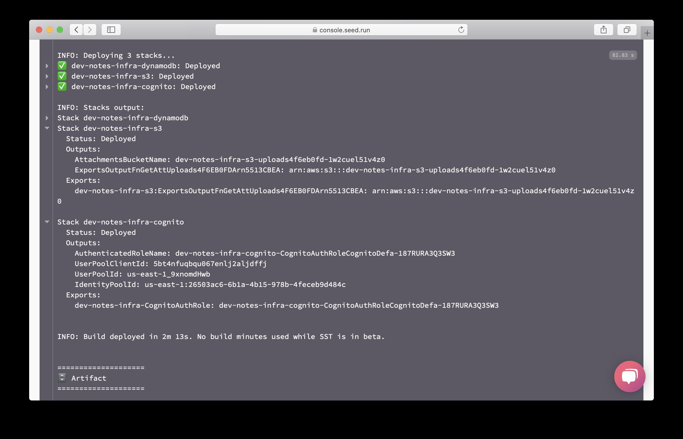 Dev build infrastructure output screenshot