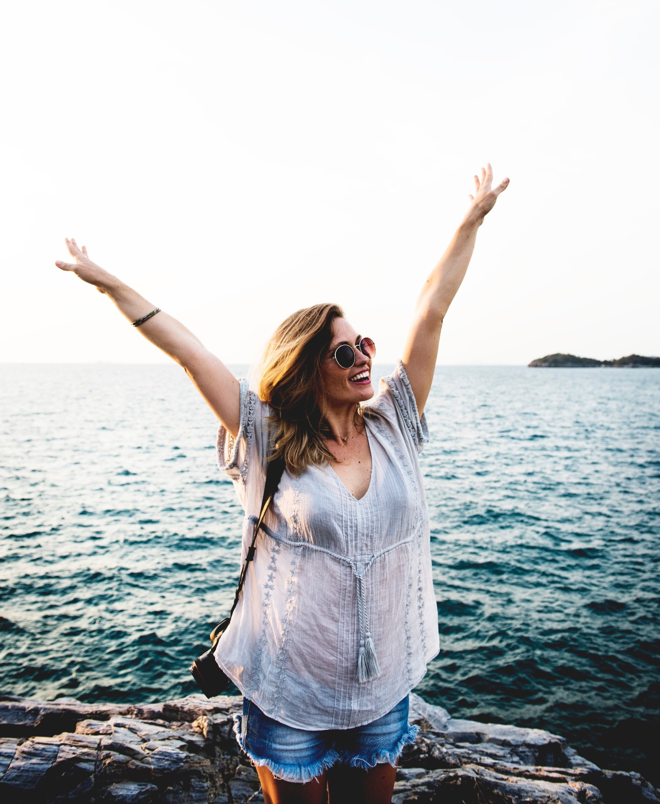 Women in Ocean happy and free from anxiety