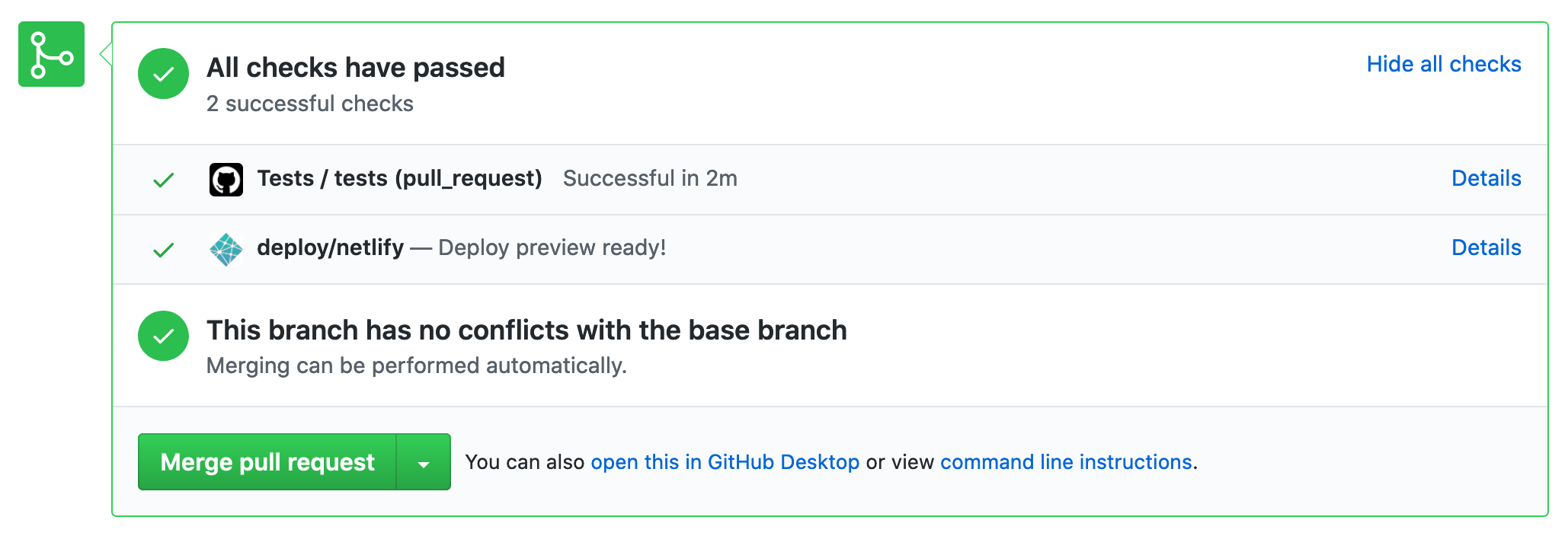 All checked passed in GitHub pull request