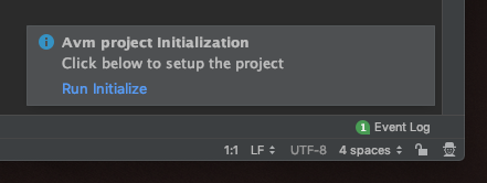 Run Initialize Pop-up