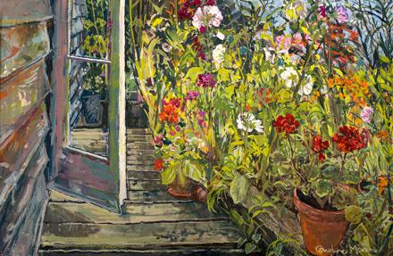 Studio Door and Glower Border gouache painting