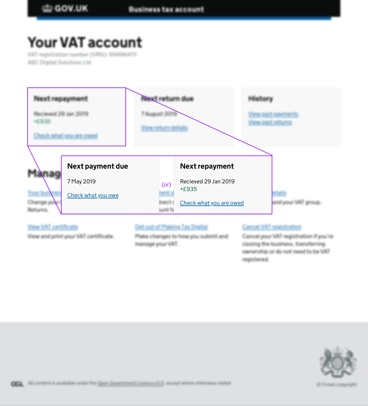 A concept where repayment are shown in place of payment due on the VAT account dashboard. Blending the tracker with the VAT account may have worked, but we didn't get the opportunity to test it.