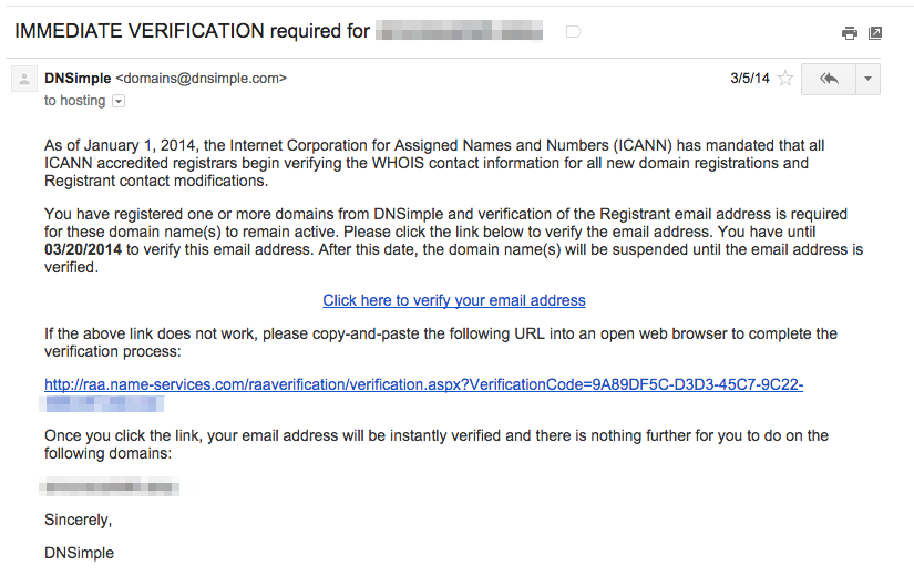 ICANN Verification Email