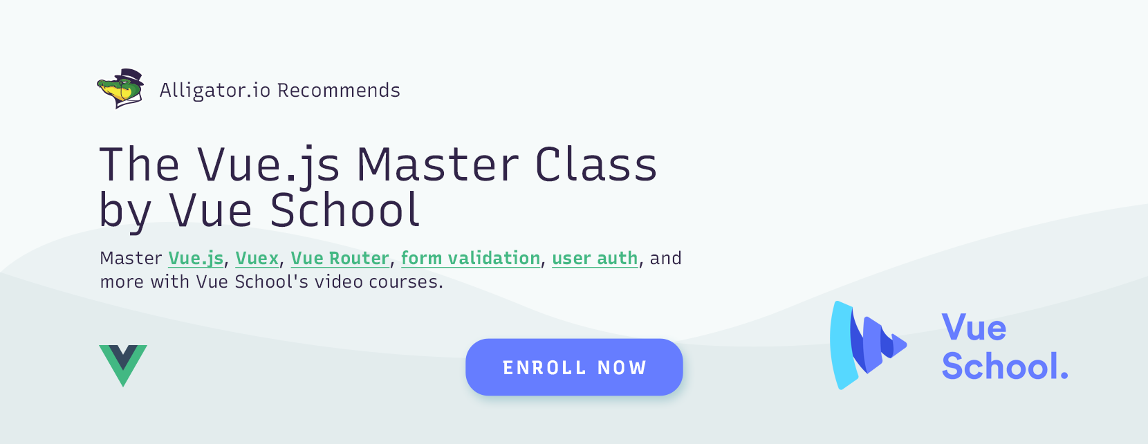 Recommended: Vue School's Vue Master class course