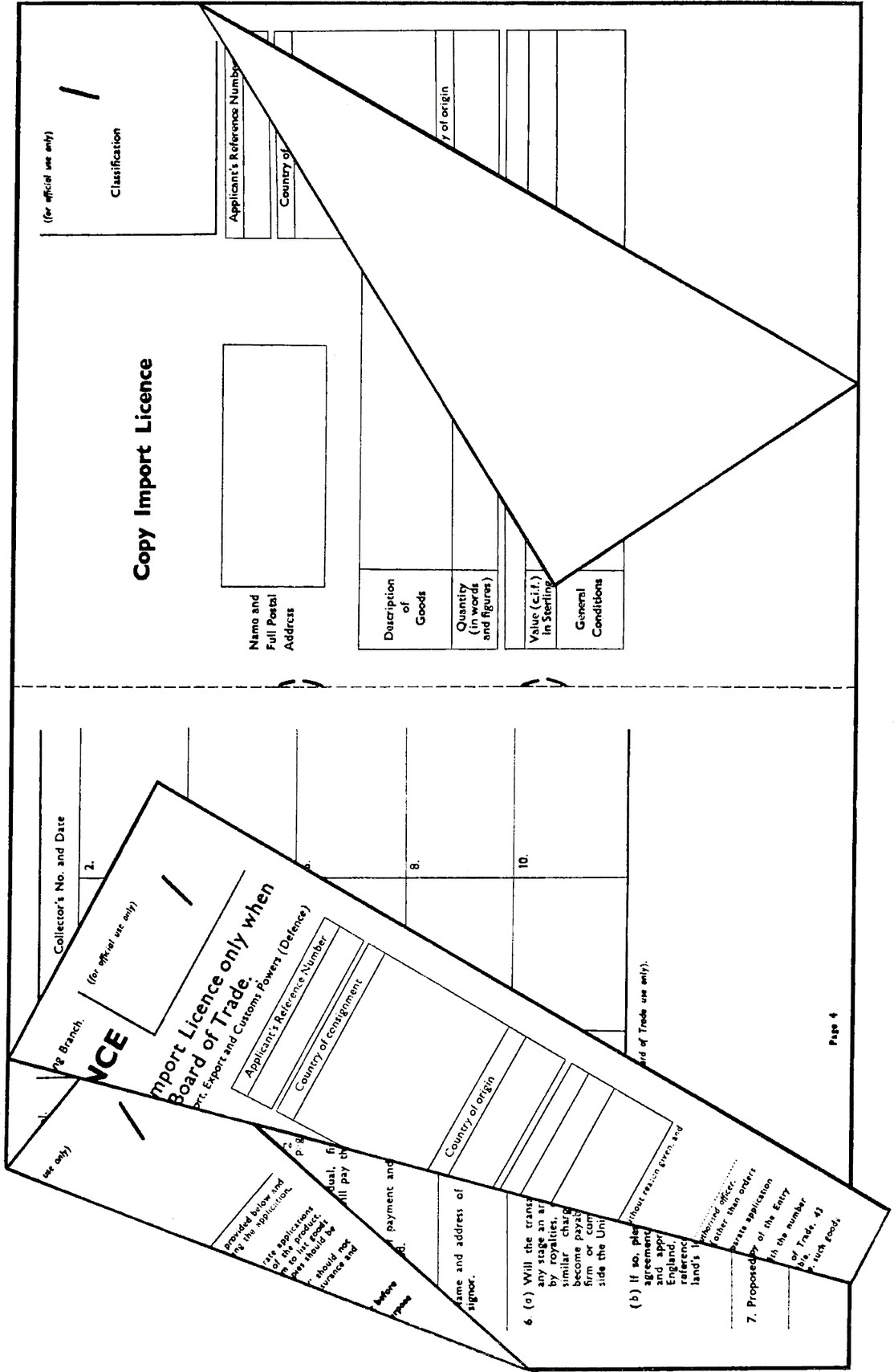 A form folded, perforated and stapled to facilitate registration of entries on copies serving as an application, an import licence and two copies of the licence produced with carbon paper