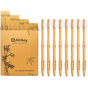 Bamboo toothbrush multi pack with cardboard packaging