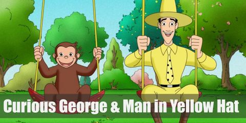 George is a little brown monkey that always has a smile on his face. The Man in the Yellow Hat costume has a yellow hat, wears a yellow shirt, yellow pants, a black belt, black boots, as well as a yellow necktie with black polka dots.